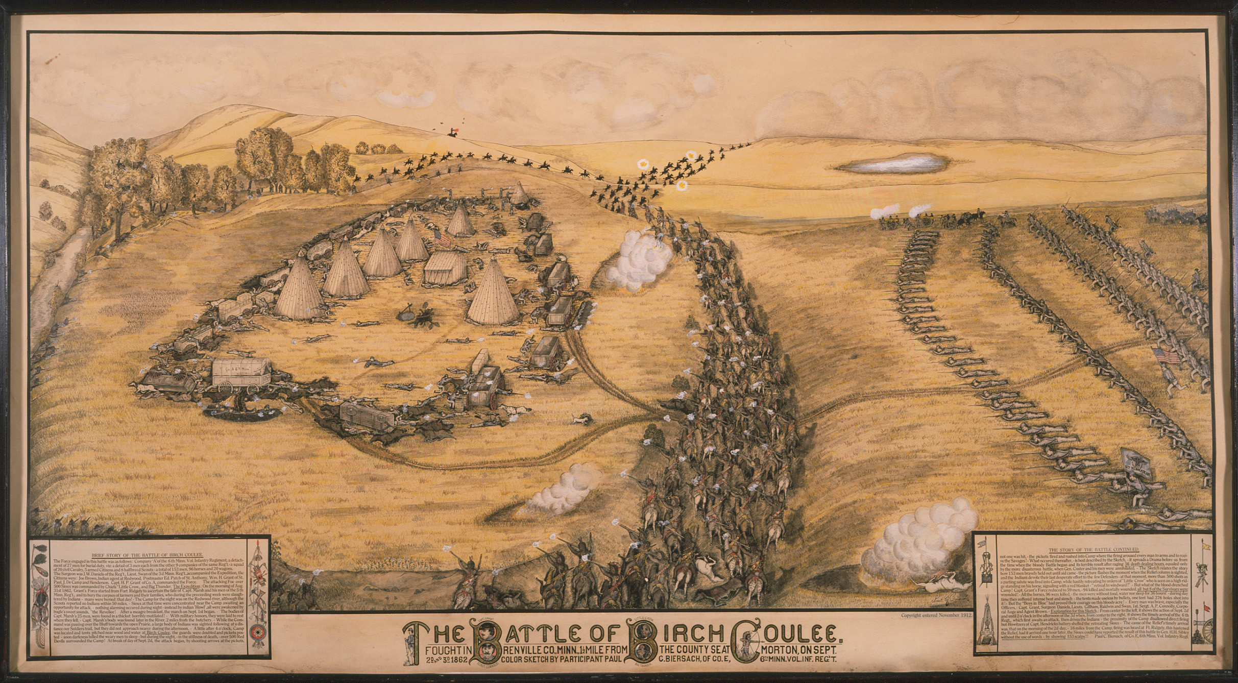 """The Battle of Birch Coulee,"" Lithograph by Paul G. Biersach, 1912."