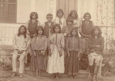 Chiricahua Apache children upon arrival at Carlisle Indian School from Fort Marion, Florida, November 4, 1886. National Museum of the American Indian, Smithsonian Institution (PO6848). Photo by J.N Choate. 1. Clement Seanilzah. 2. Humphrey Escharzay. 3. Beatrice Kiahtel. 4. Samson Noran. 5. Janette Pahgostatum. 6. Hugh Chee. 7. Basil Ekarden. 8. Bishop Eatennah. 9. Margaret Y. Nadasthilah. 10. Ernest Hoya (Hogee?). 11. Frederick Eskelsejah