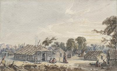 Dakota Village on the Mississippi near Fort Snelling, 1845-48