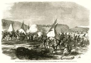 The Sioux War-cavalry charge of Sully's brigade at the Battle of White Stone Hill, Harper's Weekly, 1863