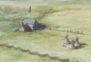 Indian Agency Council House at Fort Snelling, 1835-37. By David Geister, 2012.