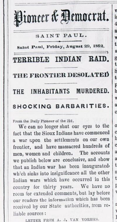Articles like this, from the St. Paul Pioneer and Democrat, Aug. 22-29, 1862, appeared during and after the war