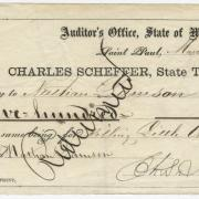 The State of Minnesota awards this $500  bounty check to Nathan Lamson for killing  Taoyateduta.