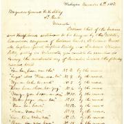 President Abraham Lincoln writes by hand the  list of 39 Dakota men to be hanged at Mankato. One man, Tatemina, was reprieved at the last minute.