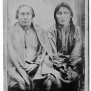 Sakpedan (Little Six) and Wakanozhanzhan (Medicine Bottle) at Fort Snelling, by Joel Emmons Whitney, 1864.