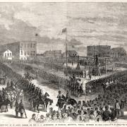 Public execution of 38 Dakota Indians at Mankato, by W. H. Childs, 1862.