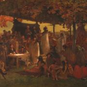 """""""The Treaty of Traverse des Sioux,"""" by Frank Blackwell Mayer, 1885."""